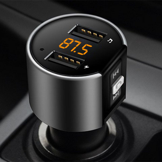 Wireless Bluetooth FM Transmitter Go wireless with this hands-free Wirelessly transmits incoming calls to your cars speakers, work wireless USB transmitters stereo radio ports port phone pairing pair music lighter Kits kit install GPS FM radio converter convert commute cigarettes cigarette charging ports car's Car calls AUX