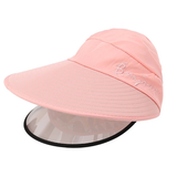 pink Women's Sun Hat with Removable Sun Visor detachable full face shield The Anti-UV UPF 50+ visor women womans woman with vizors vizor visors visor sunshine sunshades Sunshade Sunscreen sunny sunnies sunlight sunglasses sun shades sun shade sun glasses summer holiday removes remove mums mother ladys Lady Ladies hat's girls girl