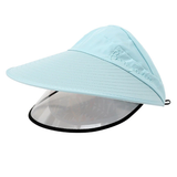 blue Women's Sun Hat with Removable Sun Visor detachable full face shield The Anti-UV UPF 50+ visor women womans woman with vizors vizor visors visor sunshine sunshades Sunshade Sunscreen sunny sunnies sunlight sunglasses sun shades sun shade sun glasses summer holiday removes remove mums mother ladys Lady Ladies hat's girls girl