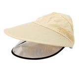 yellow Women's Sun Hat with Removable Sun Visor detachable full face shield The Anti-UV UPF 50+ visor women womans woman with vizors vizor visors visor sunshine sunshades Sunshade Sunscreen sunny sunnies sunlight sunglasses sun shades sun shade sun glasses summer holiday removes remove mums mother ladys Lady Ladies hat's girls girl