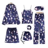 Women's 7 Piece Pyjama Set Mix match your bedtime wear vest trend stylish soft Sleepwear sleeping sleep silk shorts set Pyjamas pyjama PJs pj Piece nightwear night matching match lingere fashion fabric eye mask comfortable co-ordinate Co-Ord clothing camisole bottoms bedtime bedroom bed bag accessory accessories
