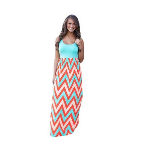 Women's Chevron Print Maxi Dress