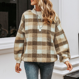 Brown Women's Lambswool Vintage Sweaters Wrap yourself in this gorgeous checked woollen women's sweatshirt Comes in warm autumn shades wool Women's womens women womans woman Winter warm Vintage sweatshirts sweatshirt sweater round plaid neck loose lambswool lamb ladies jumpers jumper hoodies girls girl coats coat