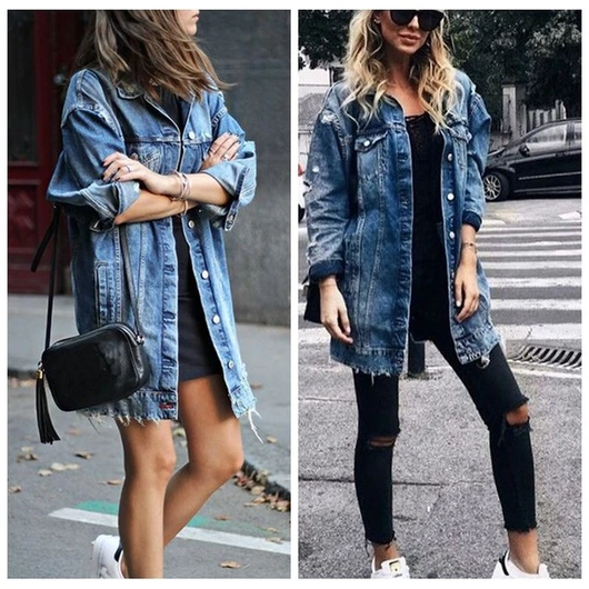 Women's Oversized Denim Jacket Longer length for a relaxed casual, boyfriend fit outfit for night, roll cuffs women womans woman wear stylish style stone-wash stone skinny season rip relaxed Oversized jeans jean jackets jacket house Home holiday girls girl fashion denim cuff cowboy collar coats coat clothing casual