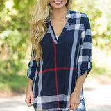 Women's V-Neck Checked Shirt
