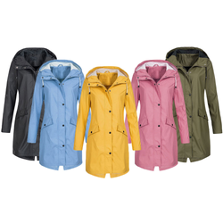 Women's Waterproof Long Jacket Be comfortable on rainy days keep protected from the elements Features lined hood, drawstring necktie, Women's womens women woman windshield Windproof windbreaker wind waterproof sleeves Sleeved sleeve rainy raining rainfall rain Long-sleeved Long Lady Ladies jackets jacket girls girl coats coat