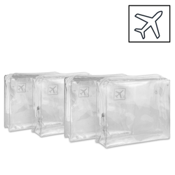 Set of 4 Airport Security Travel Bags Ease your way through airport security your way travels travelling travellers Traveller traveling Traveler travel sized travel Toiletry through summer holiday Set plastic of Makeup Liquids holidays holiday shop holiday gift four flights Flight Approved flight Clear airports 4x
