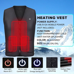 Electric Heated Vest Carbon fibre heating elements, heat your front, back, & sides Windproof waterproof warmth warming Warmer warm vests USB Skiing Riding Powered powerbanks PowerBank power supply power bank outdoors outdoor lightweight Heating Heaters Heater Heat gilet's Gilet Fishing electrical