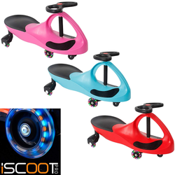iScoot LED Twist Wiggle Car Children will have hours of fun Features LED wheels which light up multicoloured wiggles wheeling wheel twists twisting turn toys toy tilt steering speed scooter riding ride along ride propel plays playing play outdoor LED lights kids girl gift fun force christmas childrens Children child cars Car boy bike