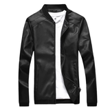 black Men's Straight Cut Leather Jacket Get this easy to wear coat Made from high quality PU leather detailed collar and waistband with side pockets Comfortable to wear Thin Straight Spring PU Men's mens Men mans man Leather jackets jacket Faux Fall Cut Coats Coat boys boy