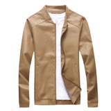 khaki Men's Straight Cut Leather Jacket Get this easy to wear coat Made from high quality PU leather detailed collar and waistband with side pockets Comfortable to wear Thin Straight Spring PU Men's mens Men mans man Leather jackets jacket Faux Fall Cut Coats Coat boys boy