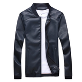 blue Men's Straight Cut Leather Jacket Get this easy to wear coat Made from high quality PU leather detailed collar and waistband with side pockets Comfortable to wear Thin Straight Spring PU Men's mens Men mans man Leather jackets jacket Faux Fall Cut Coats Coat boys boy