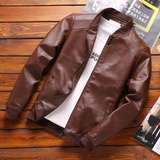 brown Men's Straight Cut Leather Jacket Get this easy to wear coat Made from high quality PU leather detailed collar and waistband with side pockets Comfortable to wear Thin Straight Spring PU Men's mens Men mans man Leather jackets jacket Faux Fall Cut Coats Coat boys boy