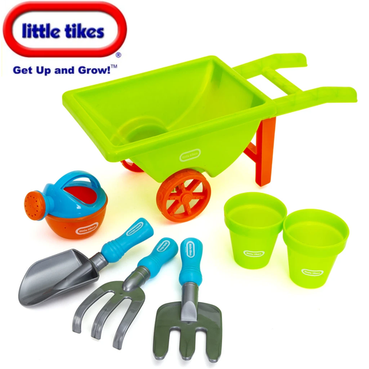 Little Tikes Wheelbarrow Set Perfect for little budding gardeners Wheelbarrows wheel Toys toy Tools summer seven Sets pots playing play plants Piece outdoors Outdoor games out kids Kid Greenhouses green girls gift gardens gardening gardeners gardener fun flowers Children child boys boy beach barrows barrow 7pcs 7pc 7
