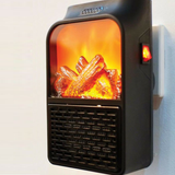 Plug-In Log Fire Heater Warm yourself up naked flame cosy warm office space, bedrooms, conservatories, caravans winter warmth rooms remote radiator plugs Plug-In Plug mini fan Heating Heaters Heated Heat flaming flames Flameless fireplace fire fantastic fan heater fan efficient effective effect control