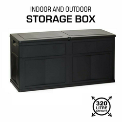 Black Garden Storage Box Chest Keep your garden clutter free with this large outdoor storage chest Extra Large 320 litre capacity weatherproof plastic Black 320L Plastic sheds shed Lid Equipment cushion Chests boxes storing stored Store outdoors outdoor-living gardens gardening gardeners gardener garden parties garden games