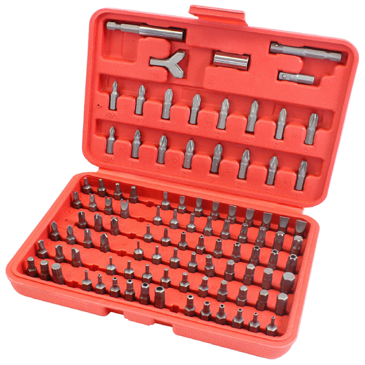 100pc Screwdriver Torx Hex Bit Set in Red Case