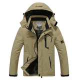 khaki Waterproof and Windproof Padded Jacket Perfect winter gift for him for skiing, hiking, climbing, travelling, camping outdoor adventures wintersports winter weather warmth warming warm Velvet travel Thick Men's mens Men man man Jackets Hoodied hooded hood hike gift fathers father Day dads dad cold coat's coat clothing clothes Autumn