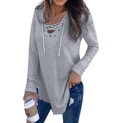 Women's Long Sleeve T-Shirt Stylish women's long sleeve T-Shirt casual top, with scooped hem and deep V neck line womens women v neck up tops t-shirts summer stylish sleeves Sleeved shirts sexy oversized neckline neck Long-sleeved Ladies Lace jumper jeans girls girl fun fashion dress deep Cute comfortable clothing clothes casual