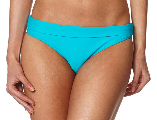 Aqua Bikini Bottom with Detachable Tropical Hawaiian