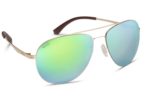 Aviator Gold Stainless Steel Frame Mirrored Lens Green