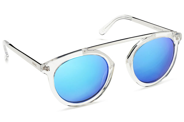 High Bridge Clear Frame Mirrored Lens Blue