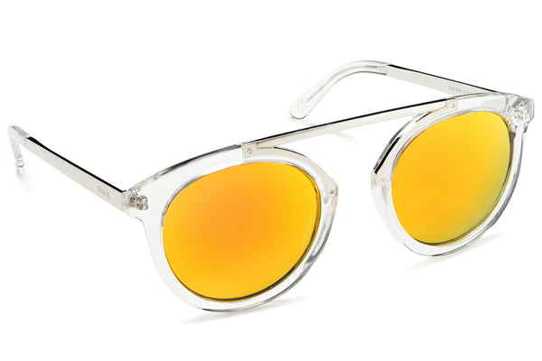 High Bridge Clear Frame Mirrored Lens Orange