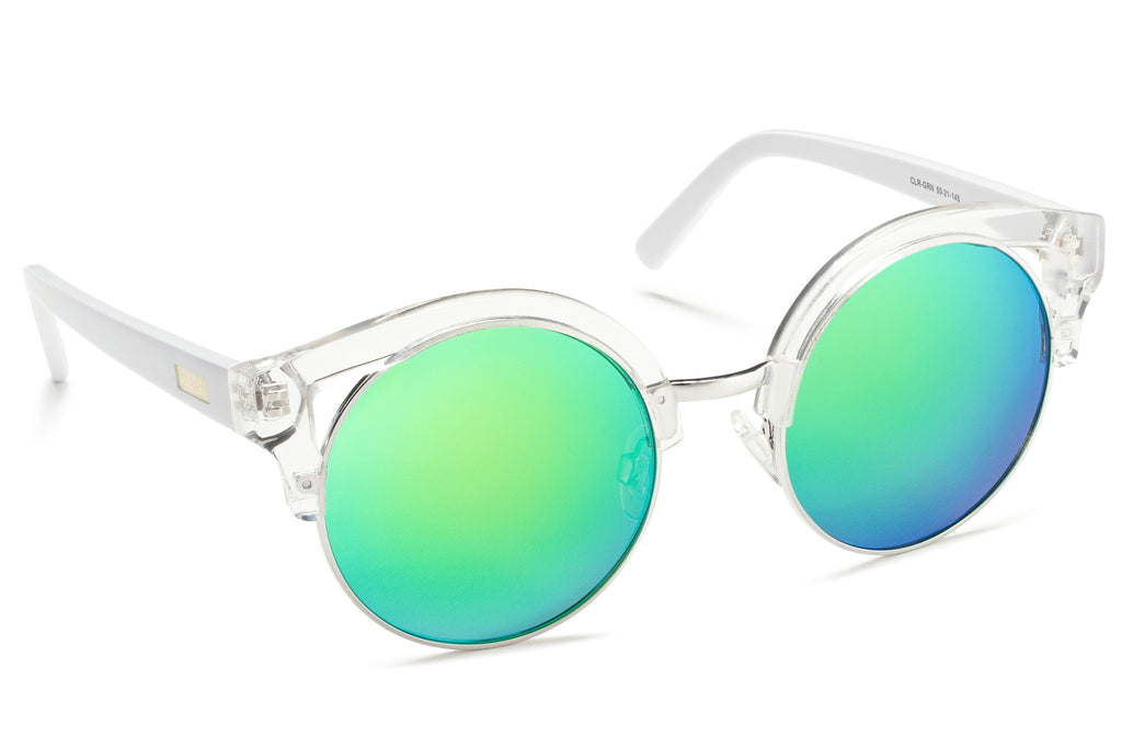Clubmaster Clear Frame Mirrored Lens Green