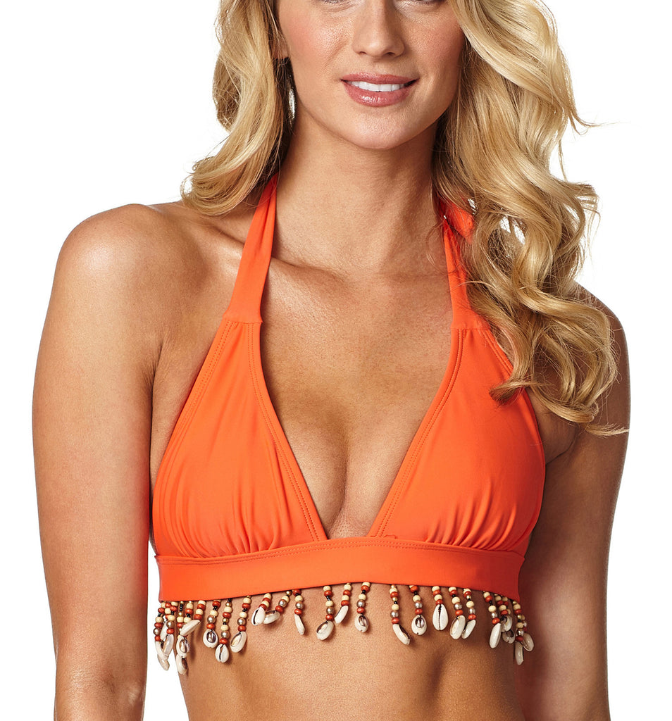 Coral Mania Bikini Top with Detachable Ivory Seashells