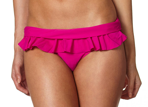 Crimson Red Bikini Bottom with Detachable Tropical Hawaiian