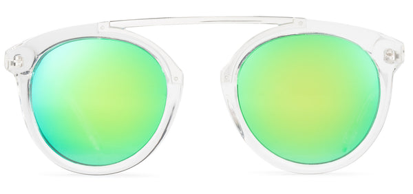 High Bridge Clear Frame Mirrored Lens Green