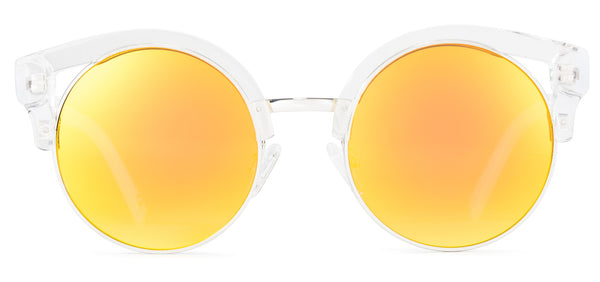 Clubmaster Clear Frame Mirrored Lens Orange