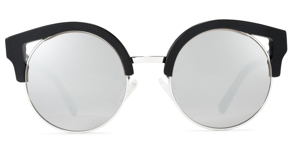 Clubmaster Black Frame Mirrored Lens