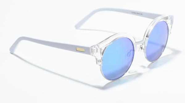 Clubmaster Clear Frame Mirrored Lens Blue