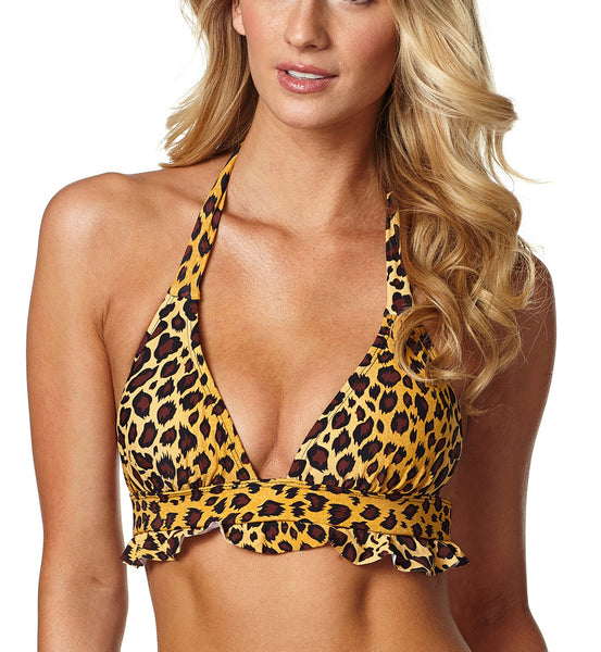 Leopard Bikini Top with Detachable Caribbean Fever