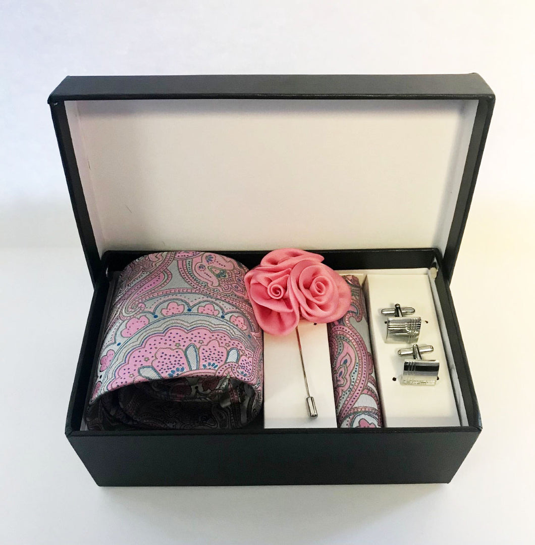 B1 Pink and gray floral Necktie set w/lapel flower and cufflinks