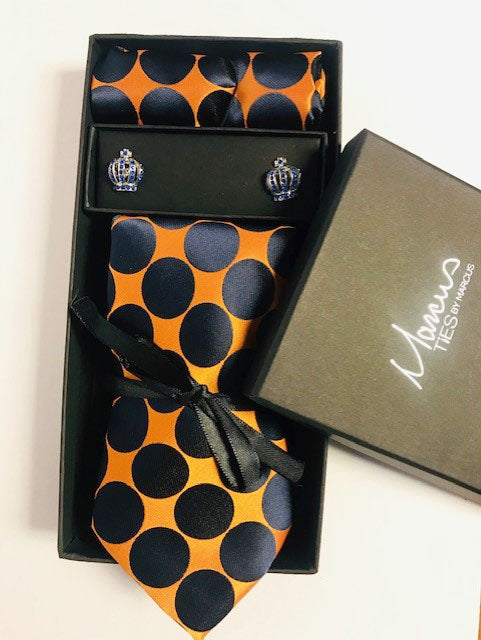 Box Set 11 Orange with large blue polka dots and cufflinks set