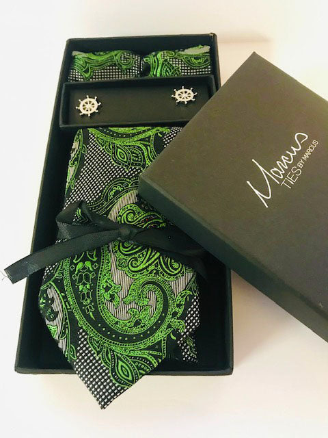 Box Set 7 Green and Black paisley designer Necktie set w/ cufflinks