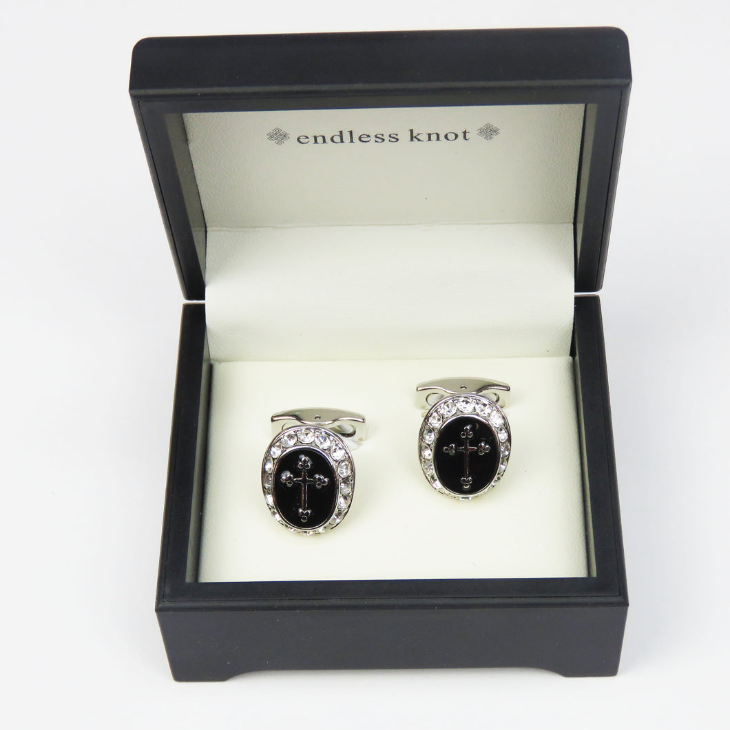 Silver Trimmed Cufflinks with Black Cross