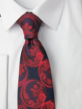 Dark Red and Navy Blue Paisley Necktie Set