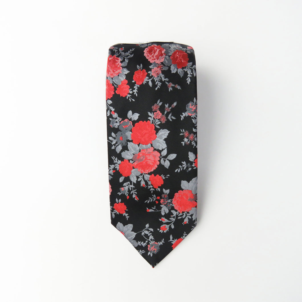 Black Red & Sliver Floral Pattern Necktie Set