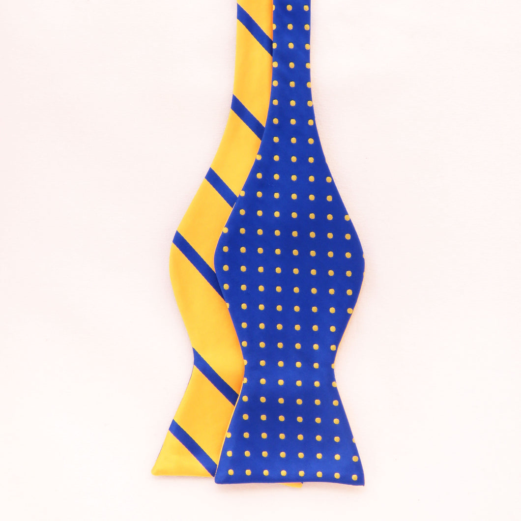 Blue and gold double sided  bow ties set