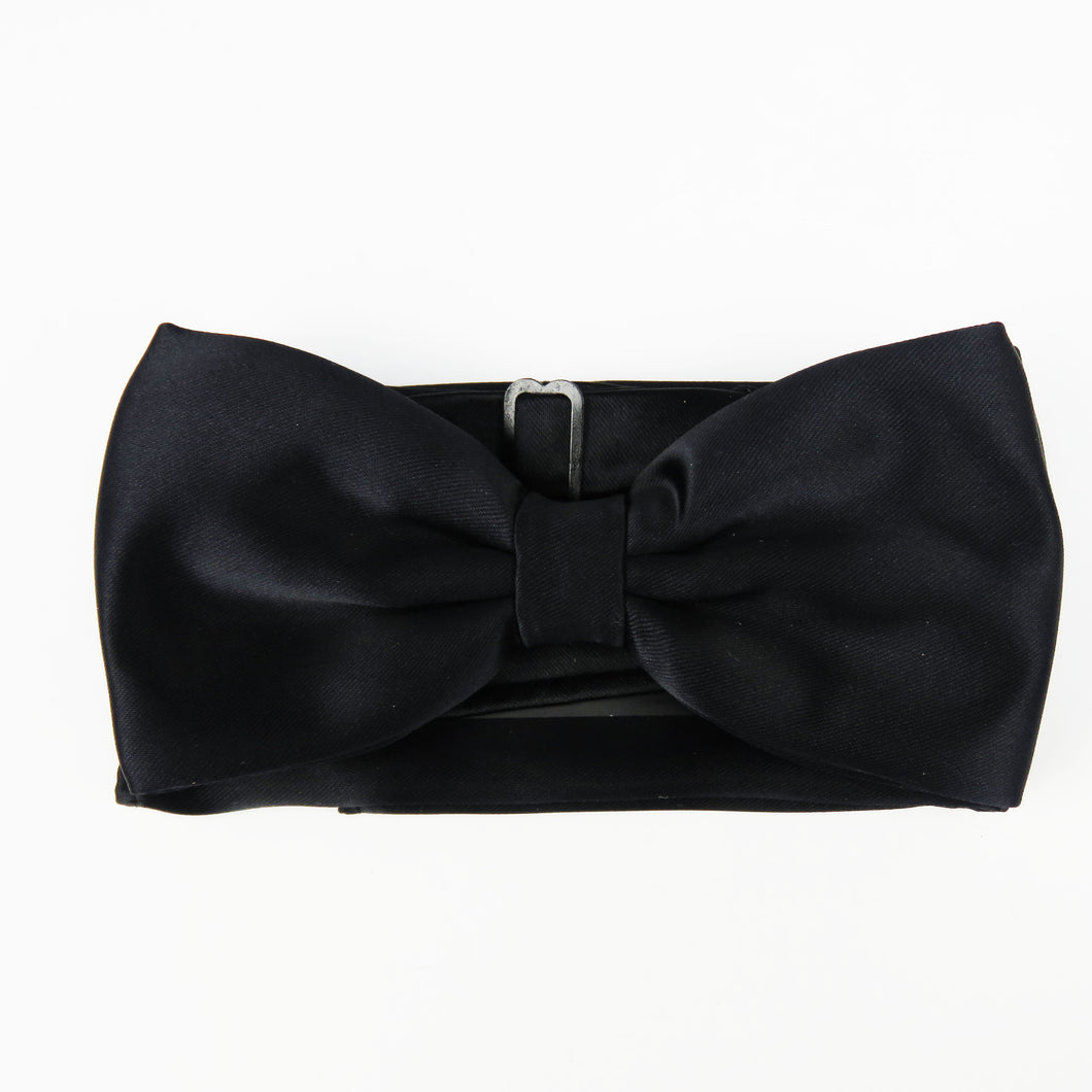 Black Classic Satin Pretied Bow tie Set