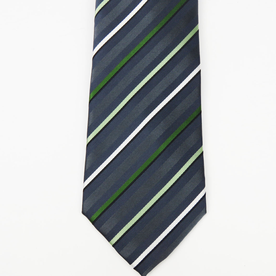 Gray and green stripe Necktie Set