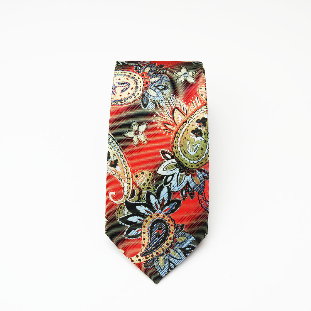 Red and Black Floral printed paisley Necktie Set