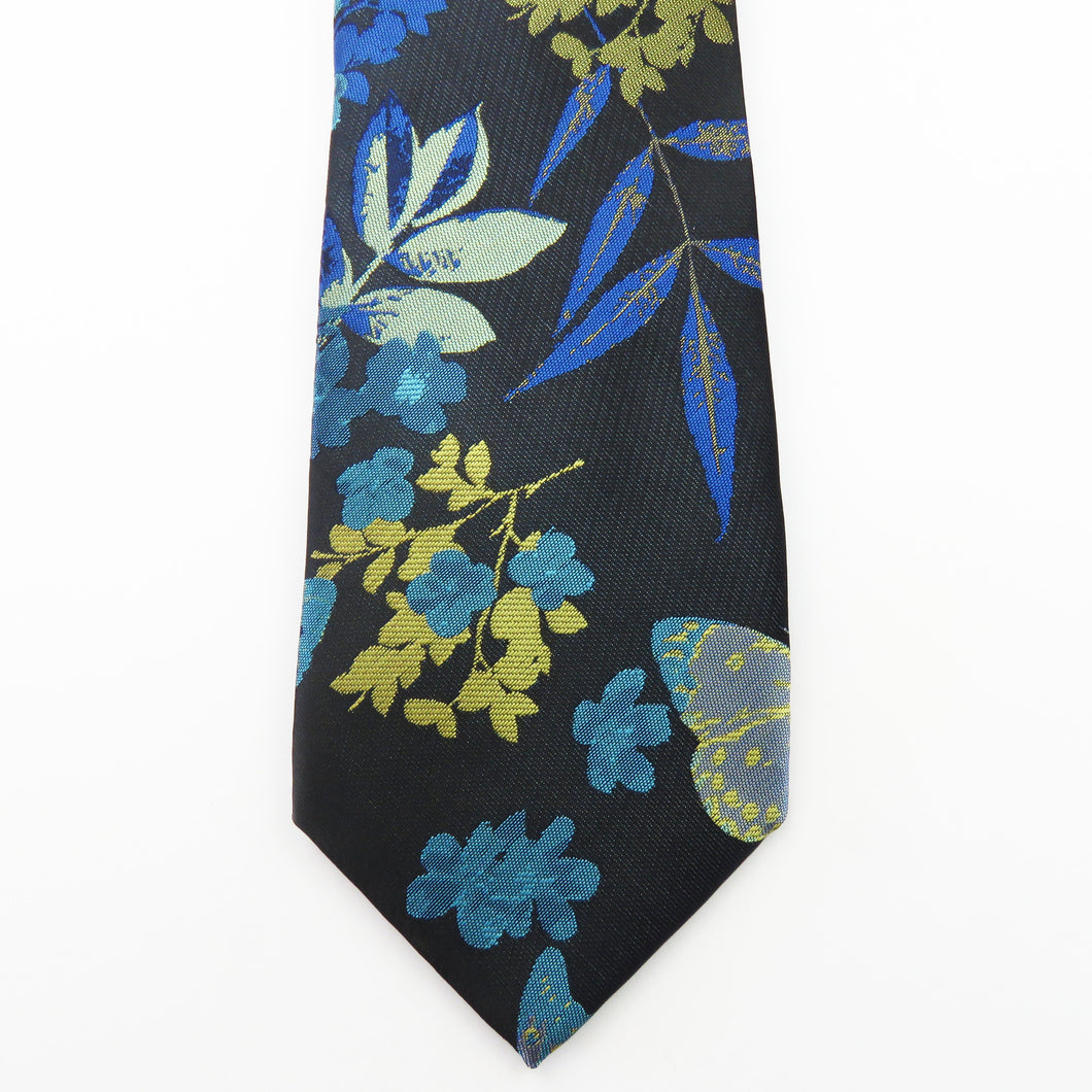 Blue and black floral pattern Necktie Set