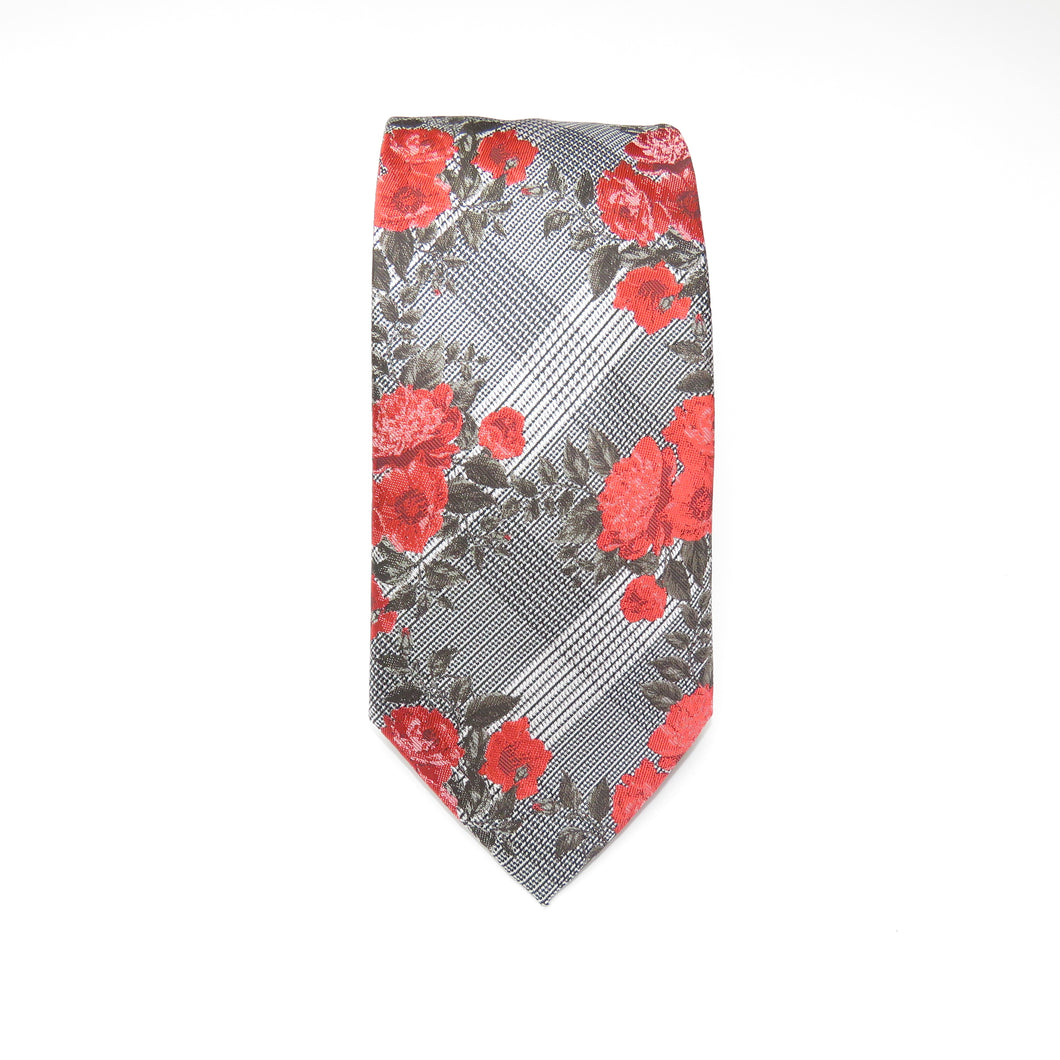 Black and White Necktie with Red Floral Pattern