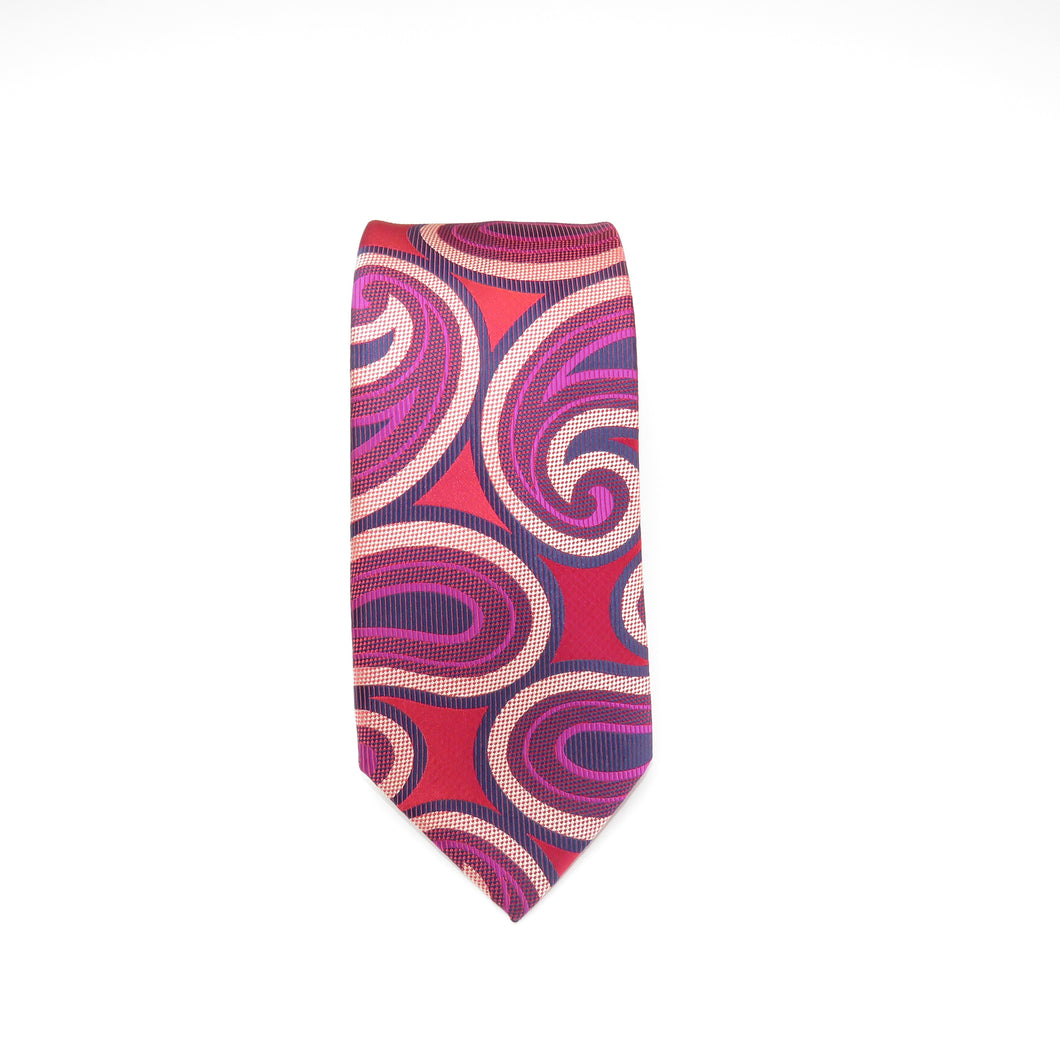 Wide Knot Red and Pink Large Paisley Necktie