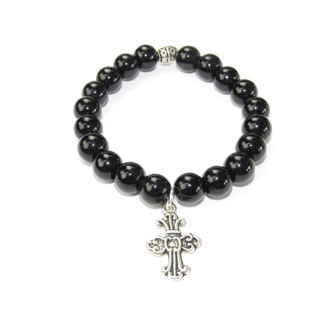 Black Bead Handmade Men's Bracelet with Cross