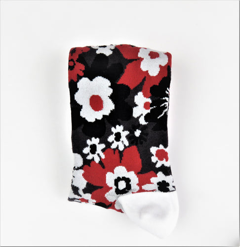 Red, Black, and White Floral Pattern Socks
